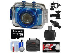 Vivitar DVR785HD Waterproof Action Video Camera Camcorder (Blue) with Helmet & Bike Mounts with 16GB Card + Case + Kit