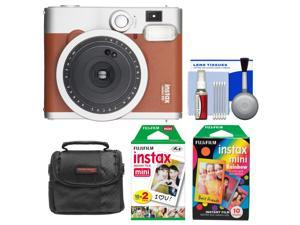 Fujifilm Instax Mini 90 Neo Classic Instant Film Camera (Brown) with Instant & Rainbow Film Packs + Case + Kit