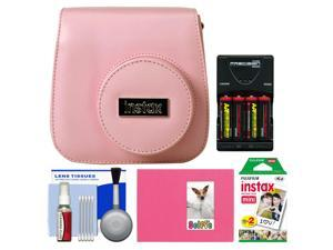 Fujifilm Groovy Camera Case for Instax Mini 8 (Pink) with 20 Twin Prints + Album + (4) Batteries & Charger + Accessory Kit