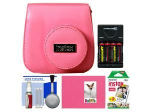 Fujifilm Groovy Camera Case for Instax Mini 8 (Raspberry) with 20 Twin Prints + Album + (4) Batteries & Charger + Accessory Kit