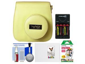 Fujifilm Groovy Camera Case for Instax Mini 8 (Yellow) with 20 Twin Prints + Album + (4) Batteries & Charger + Accessory Kit