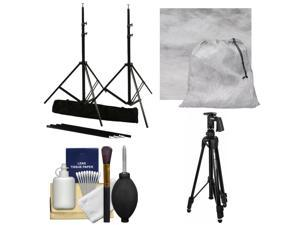 RPS Studio 10 x 10 ft. Portable Background Stand with Bag with Muslin Background (Gray Fog) + Tripod + Cleaning Kit