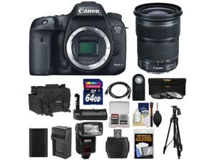 Canon EOS 7D Mark II GPS Digital SLR Camera Body with 24-105mm IS STM Lens + 64GB Card + Case + Battery + Tripod + Grip + Flash + Kit