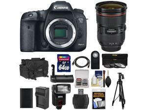 Canon EOS 7D Mark II GPS Digital SLR Camera Body with 24-70mm f/2.8 L II Lens + 64GB Card + Case + Battery + Tripod + Grip + Flash + Kit