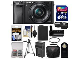 Sony Alpha A6000 Wi-Fi Digital Camera & 16-50mm Lens (Black) with 64GB Card + Case + Battery & Charger + Grip + Tripod + Tele/Wide Lens Kit