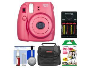 Fujifilm Instax Mini 8 Instant Film Camera (Raspberry) with 20 Instant Film + Case + (4) Batteries & Charger + Kit
