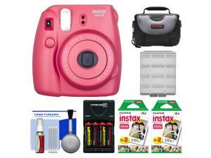 Fujifilm Instax Mini 8 Instant Film Camera (Raspberry) with 40 Instant Film + Case + Batteries & Charger + Kit