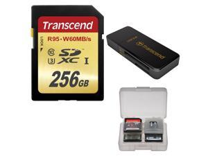 Transcend 256GB SDXC UHS-1 U3 Class 10 Memory Card with 3.0 Reader + Card Case