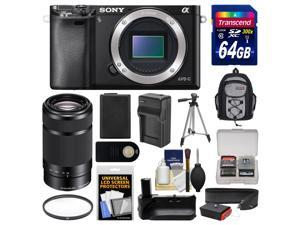 Sony Alpha A6000 Wi-Fi Digital Camera Body (Black) with 55-210mm Lens + 64GB Card + Backpack + Battery & Charger + Grip + Tripod + Filter Kit