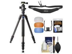 "Davis & Sanford 64"" Traverse Carbon Fiber 4-Section Grounder Tripod with Ballhead & Case with Strap + Diffusers + Kit"