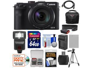 Canon PowerShot G3 X Wi-Fi Digital Camera with 64GB Card + Battery & Charger + Case + Tripod + Flash + Strap + Kit
