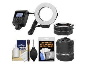 Vivitar Universal Macro 48 LED Ring Light & Flash with 4 Colored Diffusers with Macro Extension Tube Set + Pouch Kit for Sony Alpha E-Mount Cameras