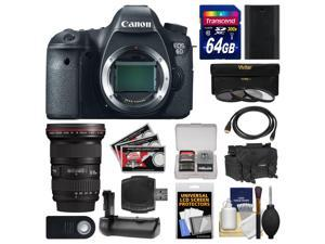 Canon EOS 6D Digital SLR Camera Body with 16-35mm f/2.8 L II USM Lens + 64GB Card + Case + Battery + Grip + Filters Kit
