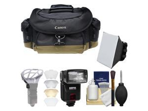 Canon 10EG Deluxe Digital SLR Camera Case - Gadget Bag with Flash + Soft Box + Diffuser Bouncer + Kit