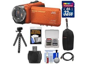 JVC Everio GZ-R320 Quad Proof Full HD Digital Video Camera Camcorder (Orange) with 32GB Card + Case + Flex Tripod + HDMI Cable + Kit