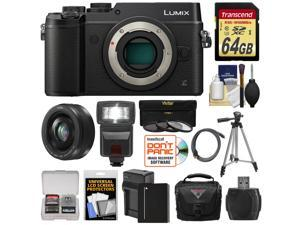 Panasonic Lumix DMC-GX8 4K Wi-Fi Digital Camera Body (Black) with 20mm f/1.7 Lens + 64GB Card + Battery + Charger + Case + Flash + Tripod + Kit