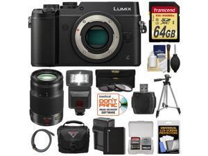 Panasonic Lumix DMC-GX8 4K Wi-Fi Digital Camera Body (Black) with 35-100mm f/2.8 OIS Lens + 64GB Card + Battery + Charger + Case + Flash + Tripod + Kit