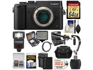 Panasonic Lumix DMC-GX8 4K Wi-Fi Digital Camera Body (Black) with 64GB Card + Battery + Charger + Case + Flash + Stabilizer + LED Light + Mic + Kit