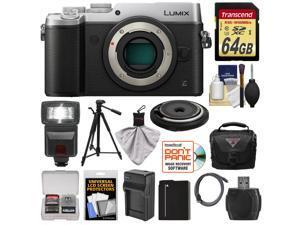 Panasonic Lumix DMC-GX8 4K Wi-Fi Digital Camera Body (Silver) with 15mm Lens + 64GB Card + Battery + Charger + Case + Flash + Tripod + Kit
