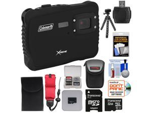 Coleman Xtreme C6WP HD Shock & Waterproof Digital Camera (Black) with 32GB Card + Case + Flex Tripod + Kit