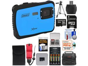 Coleman Xtreme C6WP HD Shock & Waterproof Digital Camera (Blue) with 32GB Card + Batteries & Charger + Case + Tripod + Kit
