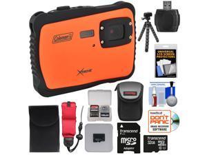 Coleman Xtreme C6WP HD Shock & Waterproof Digital Camera (Orange) with 32GB Card + Case + Flex Tripod + Kit