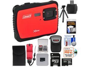 Coleman Xtreme C6WP HD Shock & Waterproof Digital Camera (Red) with 32GB Card + Case + Flex Tripod + Kit