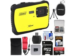 Coleman Xtreme C6WP HD Shock & Waterproof Digital Camera (Yellow) with 16GB Card + Reader + Case + Kit