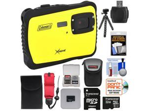 Coleman Xtreme C6WP HD Shock & Waterproof Digital Camera (Yellow) with 32GB Card + Case + Flex Tripod + Kit