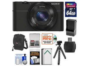 Sony Cyber-Shot DSC-RX100 Digital Camera (Black) with 64GB Card + Battery & Charger + Case + Flex Tripod + Accessory Kit