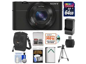 Sony Cyber-Shot DSC-RX100 Digital Camera (Black) with 64GB Card + Battery & Charger + Case + Tripod + Accessory Kit