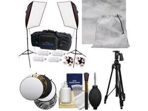 """RPS Studio Hybrid Still & Video 20"""" Square Softbox Kit with 2 Softboxes, 2 Light Stands with Muslin Background + Tripod + Reflector + Cleaning Kit"""