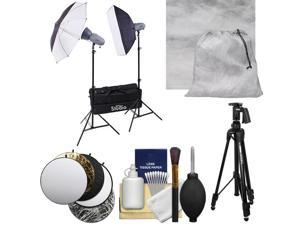 RPS Studio RS-SR300DK 600 Watt / Second Portable 2-Monolite Lighting Kit with Muslin Background + Reflector + Tripod + Cleaning Kit
