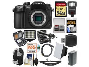 Panasonic Lumix DMC-GH4 4K Micro Four Thirds Digital Camera Body with 64GB Card + Backpack + Flash + Battery + Microphone + LED Light Kit