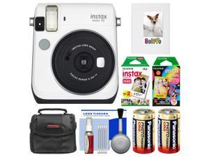 Fujifilm Instax Mini 70 Instant Film Camera (White) with 20 Twin & 10 Rainbow Prints + Album + Case + Batteries + Kit