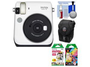 Fujifilm Instax Mini 70 Instant Film Camera (White) with 20 Twin & 10 Rainbow Prints + Case + Kit