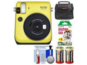 Fujifilm Instax Mini 70 Instant Film Camera (Yellow) with 20 Prints + Case + Batteries + Kit