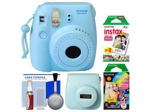 Fujifilm Instax Mini 8 Instant Film Camera (Blue) with 20 Twin & 10 Rainbow Prints + Case + Kit