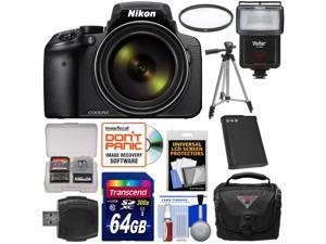 Nikon Coolpix P900 Wi-Fi 83x Zoom Digital Camera with 64GB Card + Battery + Case + Tripod + Filter + Flash + Kit