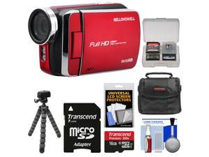 Bell & Howell DV30HD 1080p HD Video Camera Camcorder (Red) with 16GB Card + Case + Flex Tripod + Kit