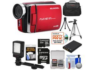 Bell & Howell DV30HD 1080p HD Video Camera Camcorder (Red) with 32GB Card + Battery + Case + Tripods + LED Video Light + Kit