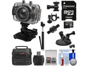Vivitar DVR785HD Waterproof Action Video Camera Camcorder (Black) with Helmet/Bike/Car Mounts + 32GB Card + Case + Selfie Stick Kit