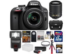 Nikon D3300 Digital SLR Camera & 18-55mm & 55-200mm VR II Lens with 32GB Card + Case + Tripod + Strap + Flash + DVD + Kit