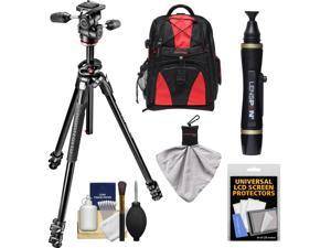"""Manfrotto 290 Dual 69"""" Professional Tripod with 3-Way Head Kit with Backpack & DSLR Cleaning Kit"""