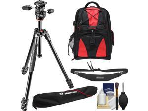 """Manfrotto 290 Xtra 67.5"""" Professional Tripod with 3-Way Head & Case Kit with Backpack + Camera Strap & DSLR Cleaning Kit"""