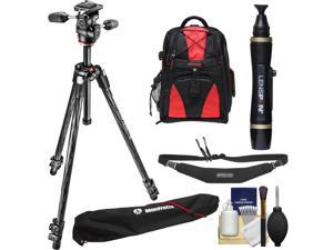 """Manfrotto 290 Xtra 70"""" Carbon Professional Tripod with 3-Way Head & Case Kit with Backpack + Camera Strap & DSLR Cleaning Kit"""