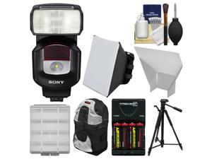 Sony Alpha HVL-F43M Flash with Video Light with Batteries + Charger + Soft Box + Reflector + Case + Tripod + Kit