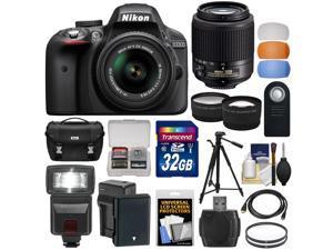 Nikon D3300 Digital SLR Camera & 18-55mm VR DX II (Black) + 55-200mm DX AF-S Lens + 32GB Card + Battery + Case + Tripod + Flash + Tele/Wide Lens Kit