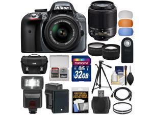 Nikon D3300 Digital SLR Camera & 18-55mm VR DX II (Grey) + 55-200mm DX AF-S Lens + 32GB Card + Battery + Case + Tripod + Flash + Tele/Wide Lens Kit