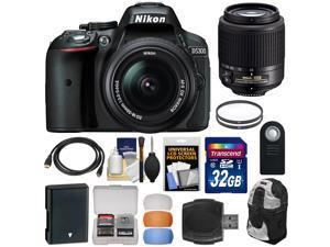 Nikon D5300 Digital SLR Camera & 18-55mm G DX II AF-S Zoom (Black) with 55-200mm DX AF-S Lens + 32GB Card + Battery + Backpack + Filters Kit